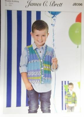 "James Brett  DK Knitting pattern Childs cardigan and waistcoat  20""-30"" JB396"