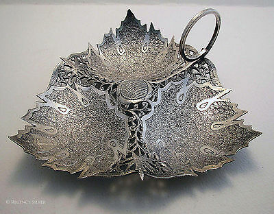 FINEST Rare Antique KASHMIRI INDIAN Islamic Sweetmeat Solid Silver Dish/Bowl