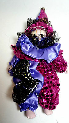 "New Orleans 8"" Mardi Gras Purple and Pink Clown Doll   New Porcelain G1927"