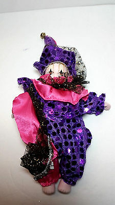 "New Orleans 8"" Mardi Gras Pink and Purple Clown Doll   New Porcelain G1929"