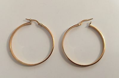 Yellow Gold Hoop Earrings 3.5cm 925 Silver And 9ct Gold