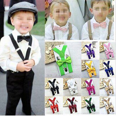Kids Baby Suspender and Bow Tie Matching Set Boys Girls Adjustable Suspenders MX