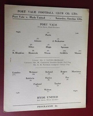 1957-58 PORT VALE Reserves vs WINSFORD FC (SMALL CARD) Good condition for age