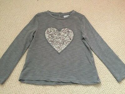 Girls NEXT signature grey/charcoal heart sequin long sleeve top age 18-24 month