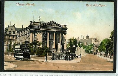 Wesley Church, West Hartlepool. Co Durham.  Old Postcard.