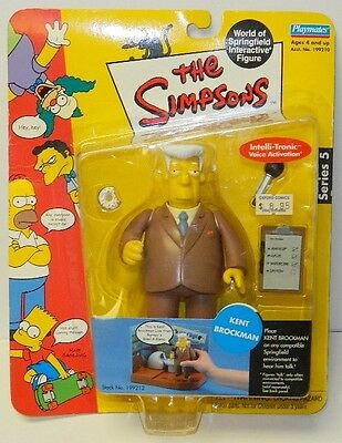 The Simpsons Kent Brockman Action Figure with Voice, Playmates 2001, NEW SEALED