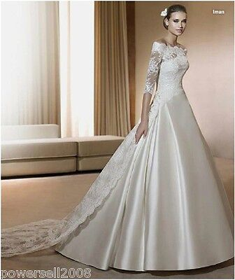 AOWY New Elegant White Off Shoulder Lace Wedding Evening Long Dress Custom Made
