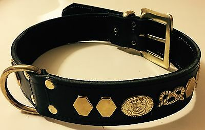"Staffordshire/Staffie/Staffy/Bull Terrier Dog Collar Real Leather,1""1/2 Wide"