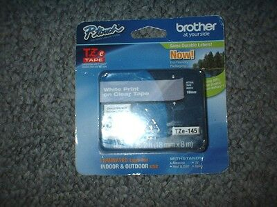 "Brother P Touch #tze-145 3/4"" White Print Clear Label Tape New  Free Shipping"
