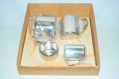 Stainless Steel Five Piece Tea Set Teapot Water Jug Milk Jug Sugar Bowl & Tray