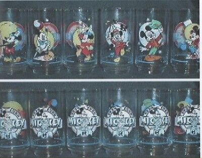 Full Set- 6 Disney Glasses-Mickey Mouse-1988