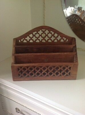 Letter Rack Vintage Desk Wooden Hand Carved Holder