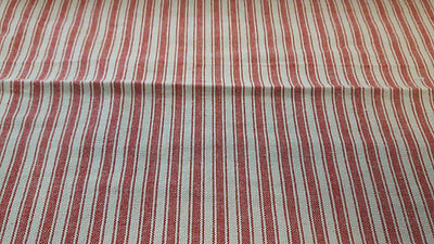 French ticking stripe fabric red/grey