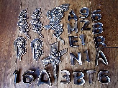 25 Vintage Bronzed Metal Bits~New~Old Stock~Letters~Numbers~Roses~Figures~Cross