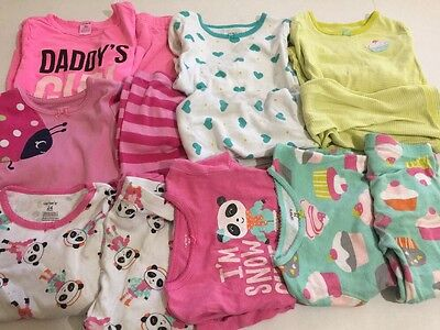 Carter's Size 2T 3T Pajamas Toddler Girl's 2pc Set Lot Of 7 Pairs