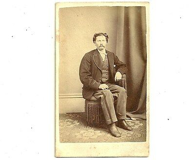 Vintage CDV Photo Unhappy Man With Moustache Brantford Ontario Old Photograph