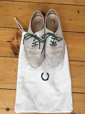 Fred Perry Ladies Leather Off White Lace Up Brogues Shoes  Size 5 With Dust bag