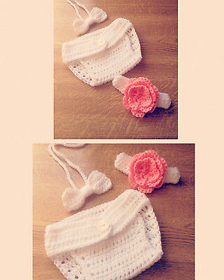 Bowtie and Flowers ~ Handmade Crochet Baby Photography Prop Gift for Newborn