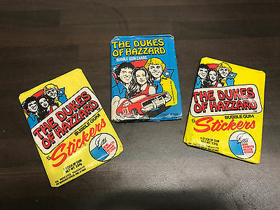 Vintage Dukes of Hazzard Bubblegum and Stickers 3x Unopened Packs