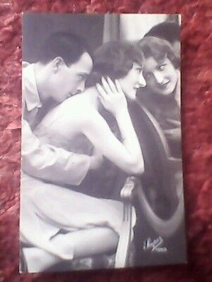 Risque Made in France postcard glamour couple by mirror