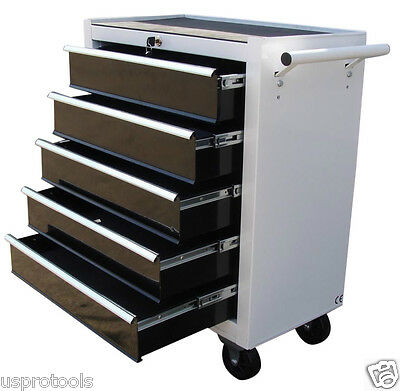 193 Us Pro Tools White With Black Steel Chest Tool Box Roller Cabinet 5 Drawers