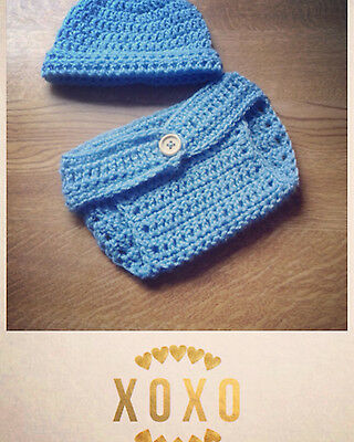 Blue Brimmed ~ Handmade Crochet Baby Photography Prop Gift for Newborn