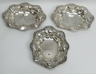 3 Fabulous Sterling Silver Art Nouveau Era Wallace Candy Dishes