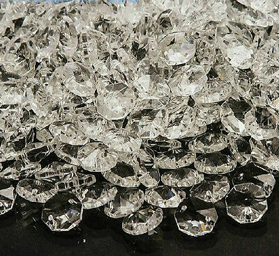 50pcs Clear Crystal  Octagon Beads Glass Chandelier Prisms Lamp Hanging Parts S