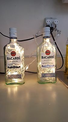 *Bling Lights* Set of 2 Bacardi Liquor Bottle Lamps