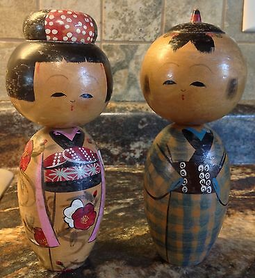 "2 Antique 7"" Japanese Kokeshi Painted Wood Booblehead Dolls Man Woman"