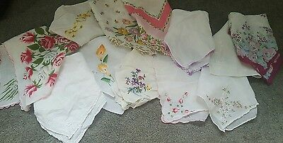 Vintage Hankerchief LOT of 12 Floral Printed and  Embroidery Hankies