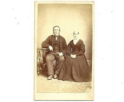 Vintage CDV Photo Aged Husband And Wife Brantford Ontario Antique Photograph