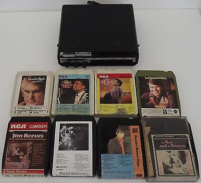 Vintage 8 track car player & 23 tapes untested Country & Western