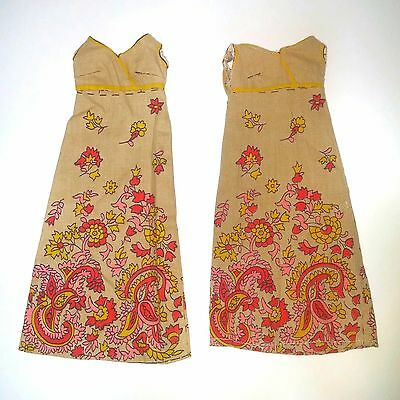 Lot Of 2 Cut N Sew Mattel Barbie dresses - Tan Floral Print