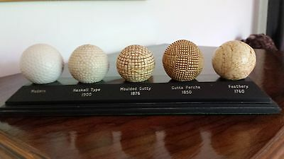 The Evolution of the Golf Ball Display Set Balls On Stand & Leaflet