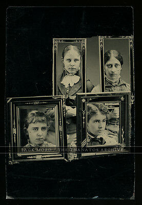 Unique Tintype Photo 4 Victorian Girls w Faces in Eastlake Picture Frames