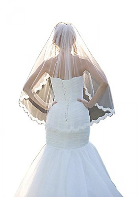 Fingertip Wedding Veils Comb Lace One Layer And Soft Tulle Elbow White Ivory New