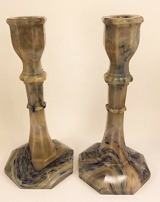 Antique Slag Agate Spatter Chocolate Glass Candlesticks Candle Holder Pair