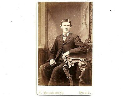 Vintage CDV Photo Young Man Seated Paris Ontario Antique Carte De Visite
