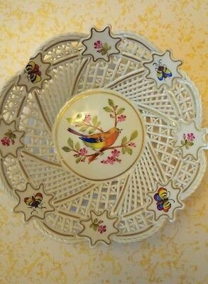 Ajka Porcelain Decorative Woven Bowl with Hand Painted Bird