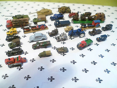 War Games Tanks Lorrys Cars Etc Ressin Cast About 70 Some Painted  1/300 Scale