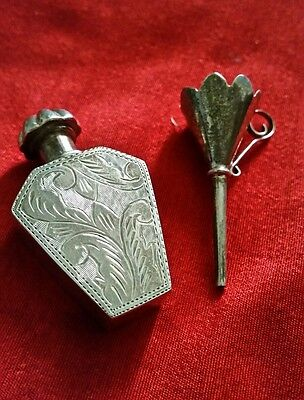 Pretty Vintage Engraved Silver Perfume Bottle with funnel. Flask type - both 925