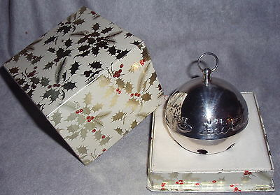 MIB 1974 Wallace 4th Annual Silver Plate Sleigh Bell Xmas Ornament Decoration