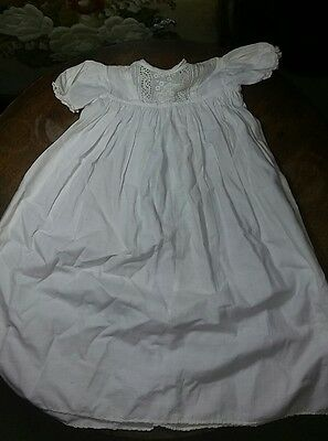Vintage White lace baby or doll dress cotton