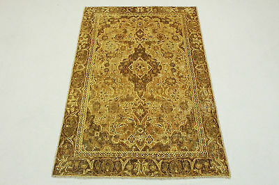 Oriental Rug Vintage Brown Sand Chic USED LOOK 190x120 Quality Hand Knotted 3487
