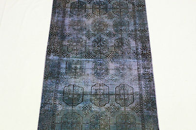 Oriental Rug Vintage Overdyed 200x110 Purple Modern Used Look Hand Knotted 3291