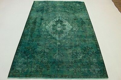 East Rug Vintage overdyed 330x220 turquoise Used Look quality hand knotted 5025a