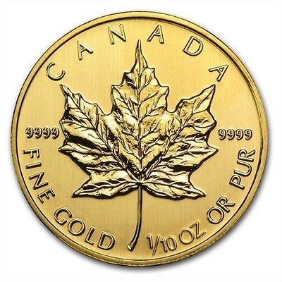 1/10 oz Misc. Gold (Canada) Canadian Maple Leaf $5 BU