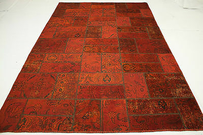 Oriental Rug Patchwork Vintage Red Used Look 310x200 Modern Hand Knotted 1886