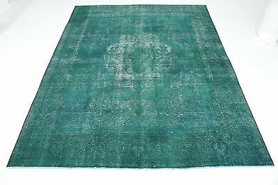 East Rug Vintage overdyed 400x300 turquoise Used Look quality hand knotted 5044